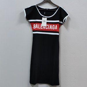 Balenciaga Red Chest Line Black Sport Dress